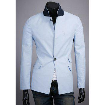 Slimming Stand Collar Trendy Color Block Splicing Long Sleeve Cotton Blend Men's Blazer - AZURE AZURE