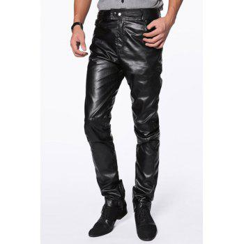 Trendy Slimming Solid Color Zipper Design Narrow Feet PU Leather Pants For Men