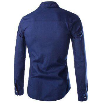 Slimming Shirt Collar Stylish Color Block Splicing Pocket Design Long Sleeve Polyester Men's Shirt - CADETBLUE M