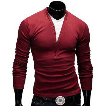 Fitted V-Neck Fashion Faux Twinset Button Design Long Sleeve Polyester Men's T-Shirt - WINE RED M