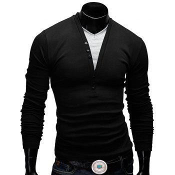 Fitted V-Neck Fashion Faux Twinset Button Design Long Sleeve Polyester Men's T-Shirt - BLACK XL