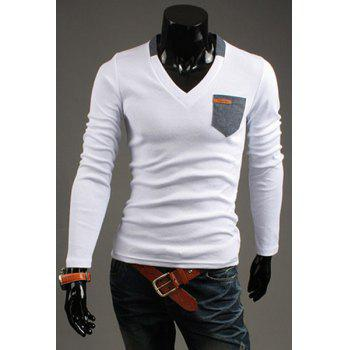 Slimming V-Neck Modish Contrast Color Pocket Labeling Long Sleeve Polyester Men's T-Shirt