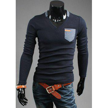 Slimming V-Neck Modish Contrast Color Pocket Labeling Long Sleeve Polyester Men's T-Shirt - CADETBLUE 2XL