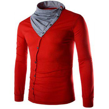 Piles Collar Color Block Panel Button Design T-Shirt - RED M