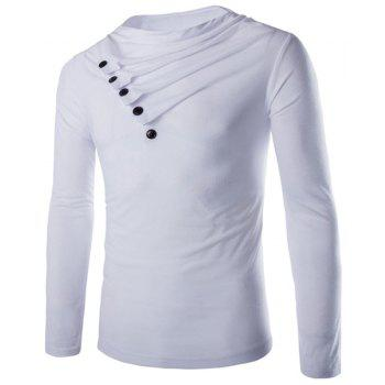 Slimming Cowl Neck Fashion Solid Color Button Design Long Sleeve Polyester Men's T-Shirt - WHITE 2XL