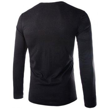 Slimming Cowl Neck Fashion Solid Color Button Design Long Sleeve Polyester Men's T-Shirt - L L