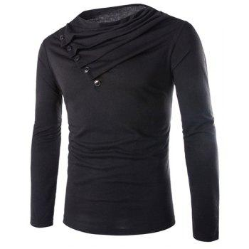 Slimming Cowl Neck Fashion Solid Color Button Design Long Sleeve Polyester Men's T-Shirt - BLACK 2XL