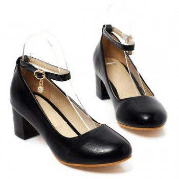 Elegant Rhinestones and Ankle Strap Design Pumps For Women - BLACK 39