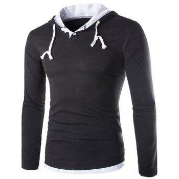 Color Block Panel Long Sleeve Polyester T-Shirt