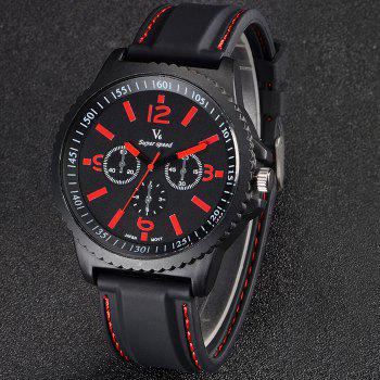 V6 Men Decorative Sub-dials Japan Movt Quartz Watch Double Scales Rubber Band