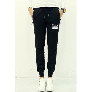 Fashion Lace-Up Slimming Stripe Print Zipper Design Beam Feet Polyester Jogger Pants For Men