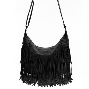 Stylish Suede and Fringe Design Crossbody Bag For Women