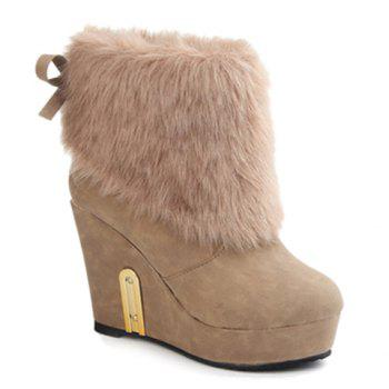Faux Fur Wedge Booties