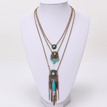 Layered Bead Decorated Tassel Necklace