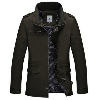 Fitted Stand Collar Trendy Multi-Pocket Epaulet Design Long Sleeve Cotton Blend Men's Coat