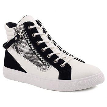 Stylish Snake Print and Zipper Design Casual Shoes For Men - WHITE AND BLACK WHITE/BLACK