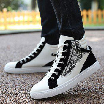 Stylish Snake Print and Zipper Design Casual Shoes For Men - WHITE/BLACK 43