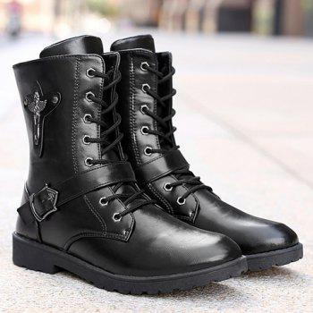Fashionable Buckle and Solid Color Design Boots For Men - BLACK 42