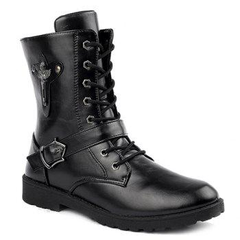 Fashionable Buckle and Solid Color Design Boots For Men