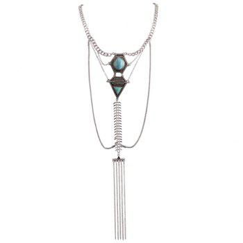 Faux Turquoise Inlaid Geometric Shape Long Tassel Necklace