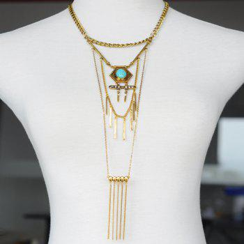Fake Turquoise Bar Tassel Sweater Chain - GOLDEN GOLDEN