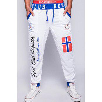 Fashion Lace-Up Loose Fit Color Block Rib Splicing Letters Print Beam Feet Polyester Jogger Pants For Men