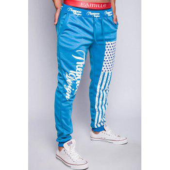 Trendy Lace-Up Loose Fit American Flag Print Beam Feet Polyester Jogger Pants For Men - LAKE BLUE L