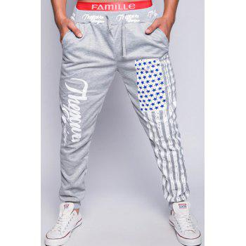 Trendy Lace-Up Loose Fit American Flag Print Beam Feet Polyester Jogger Pants For Men