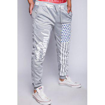 Trendy Lace-Up Loose Fit American Flag Print Beam Feet Polyester Jogger Pants For Men - LIGHT GRAY 2XL