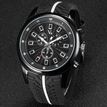 V6 V0281 Male Decorative Sub-dials Quartz Watch with Rubber Band