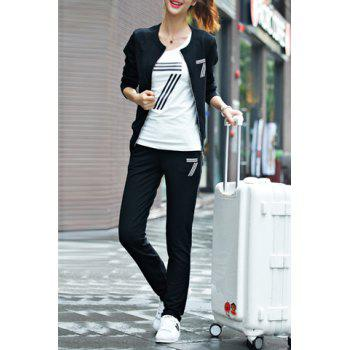 Stylish Long Sleeve Round Neck Jacket + Spliced T-Shirt + Elastic Waist Pants Women's Suit