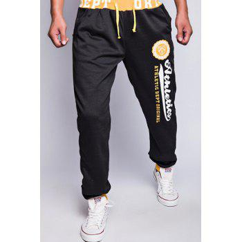 Modish Drawstring Loose Fit Letters Print Color Block Rib Splicing Beam Feet Polyester Jogger Pants For Men