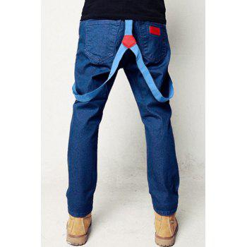 Slimming Trendy Solid Color Pocket Labeling Narrow Feet Men's Detachable Denim Overalls - BLUE M