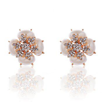 Pair of Elegant Stunning Rhinestone Decorated Faux Pearl Earrings For Women