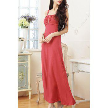 Sexy Spaghetti Strap Sleeveless Zippered Pure Color Women's Dress - WATERMELON RED XL