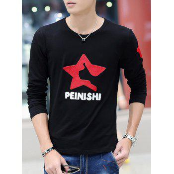 Slimming Fashion Round Neck Letter Embroidered Long Sleeve Men's Cotton Blend T-Shirt