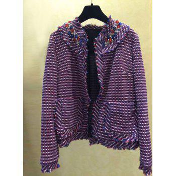 Stylish Colored Plaid Round Neck Long Sleeve Coat For Women