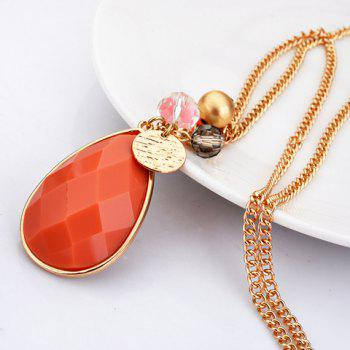 Stylish Faux Gemstone Waterdrop Women's Sweater Chain - ORANGE RED