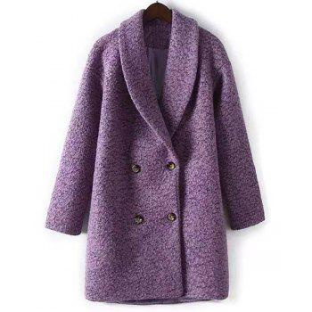 Stylish Shawl Collar Purple Long Sleeve Worsted Coat For Women