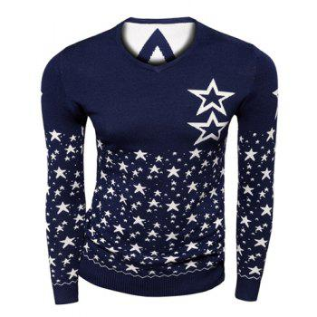 Stylish Slimming V-Neck Color Block Five-Point Star Jacquard Long Sleeve Polyester Sweater For Men