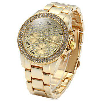 GND Men Diamond Quartz Watch with Decorative Sub-dials Stainless Steel Watchband