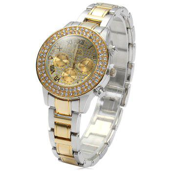 GND Decorative Sub-dials Diamond Dial Female Quartz Wrist Watch with Stainless Steel Watchband