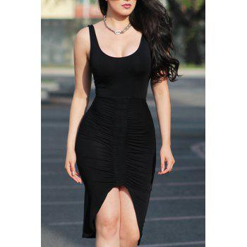 Sexy Sleeveless U-Neck Asymmetrical Black Women's Dress
