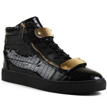 Punk Crocodile Print and Metallic Design Casual Shoes For Men - BLACK 40