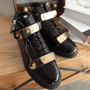 Punk Crocodile Print and Metallic Design Casual Shoes For Men - 40 40