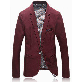 Pure Color Elegant Breast Pocket Back Slit Woolen Blend Lapel Long Sleeves Men's Slim Fit Blazer