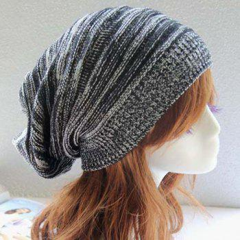 Chic Color Block Women's Elastic Knitted Hat - BLACK BLACK