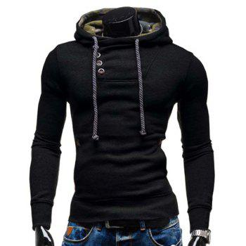 Hooded Elbow Patch Oblique Button Hoodie