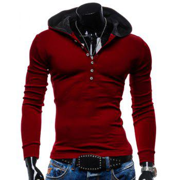 Buy Slimming Hooded Trendy Simple Solid Color Buttons Design Long Sleeve Polyester Men's Hoodie RED