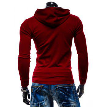 Hooded Buttons Simple Pullover Hoodie - RED XL